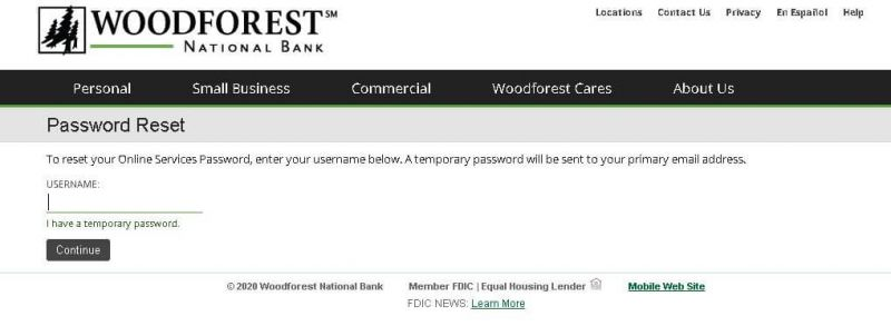 woodforest national bank reset password