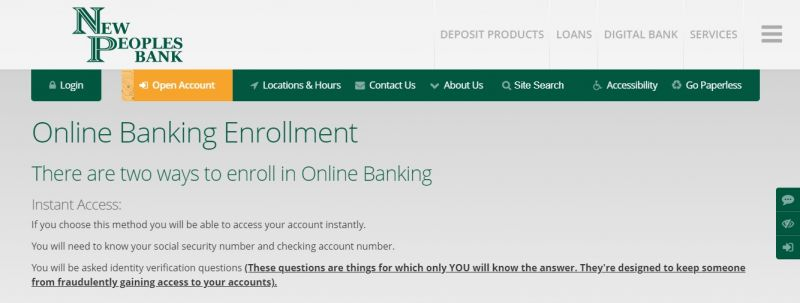 New Peoples Bank Enrollment
